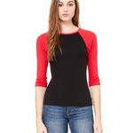 Ladies'  5.8 oz., 1x1 Baby Rib 3/4-Sleeve Contrast Raglan T-Shirt
